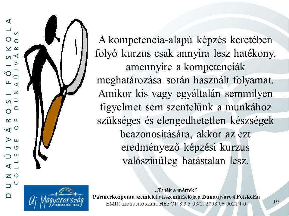 """""""Érték a mérték Partnerközpontú szemlélet disszeminációja a Dunaújvárosi Főiskolán EMIR azonosító szám: HEFOP-3.3.3-08/1.-2008-06-0021/1.0 19 A kompetencia-alapú képzés keretében folyó kurzus csak annyira lesz hatékony, amennyire a kompetenciák meghatározása során használt folyamat."""