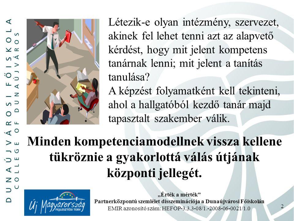 """""""Érték a mérték Partnerközpontú szemlélet disszeminációja a Dunaújvárosi Főiskolán EMIR azonosító szám: HEFOP-3.3.3-08/1.-2008-06-0021/1.0 2 Létezik-e olyan intézmény, szervezet, akinek fel lehet tenni azt az alapvető kérdést, hogy mit jelent kompetens tanárnak lenni; mit jelent a tanítás tanulása."""
