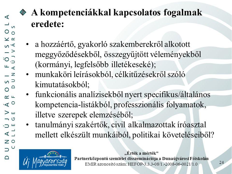 """""""Érték a mérték Partnerközpontú szemlélet disszeminációja a Dunaújvárosi Főiskolán EMIR azonosító szám: HEFOP-3.3.3-08/1.-2008-06-0021/1.0 24 A kompetenciákkal kapcsolatos fogalmak eredete: a hozzáértő, gyakorló szakemberekről alkotott meggyőződésekből, összegyűjtött véleményekből (kormányi, legfelsőbb illetékeseké); munkaköri leírásokból, célkitűzésekről szóló kimutatásokból; funkcionális analízisekből nyert specifikus/általános kompetencia-listákból, professzionális folyamatok, illetve szerepek elemzéséből; tanulmányi szakértők, civil alkalmazottak íróasztal mellett elkészült munkáiból, politikai követeléseiből?"""