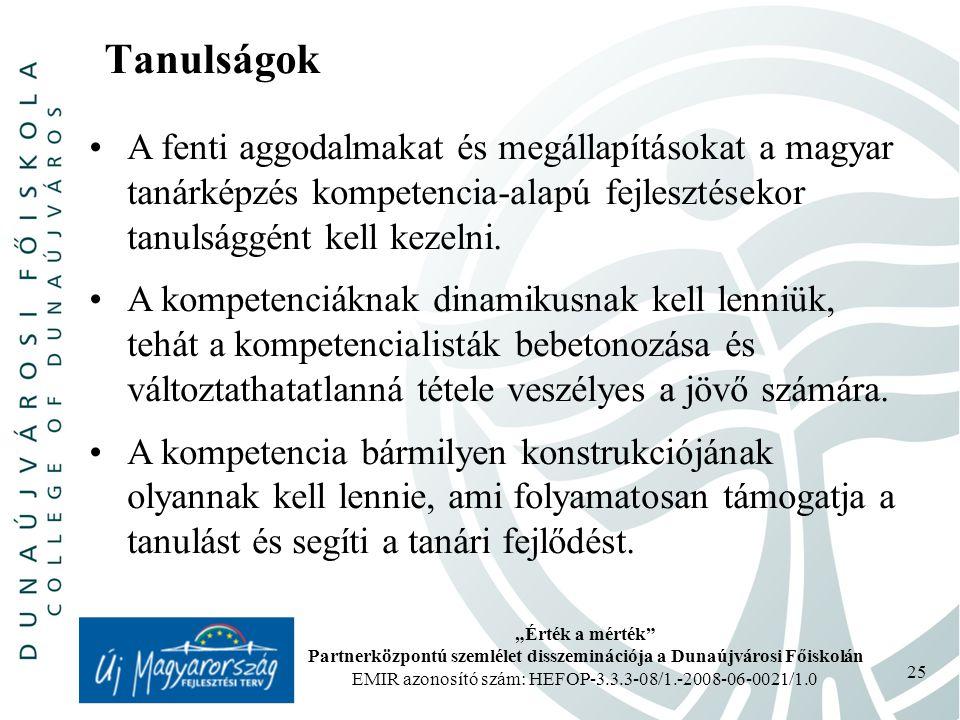 """""""Érték a mérték Partnerközpontú szemlélet disszeminációja a Dunaújvárosi Főiskolán EMIR azonosító szám: HEFOP-3.3.3-08/1.-2008-06-0021/1.0 25 Tanulságok A fenti aggodalmakat és megállapításokat a magyar tanárképzés kompetencia-alapú fejlesztésekor tanulsággént kell kezelni."""