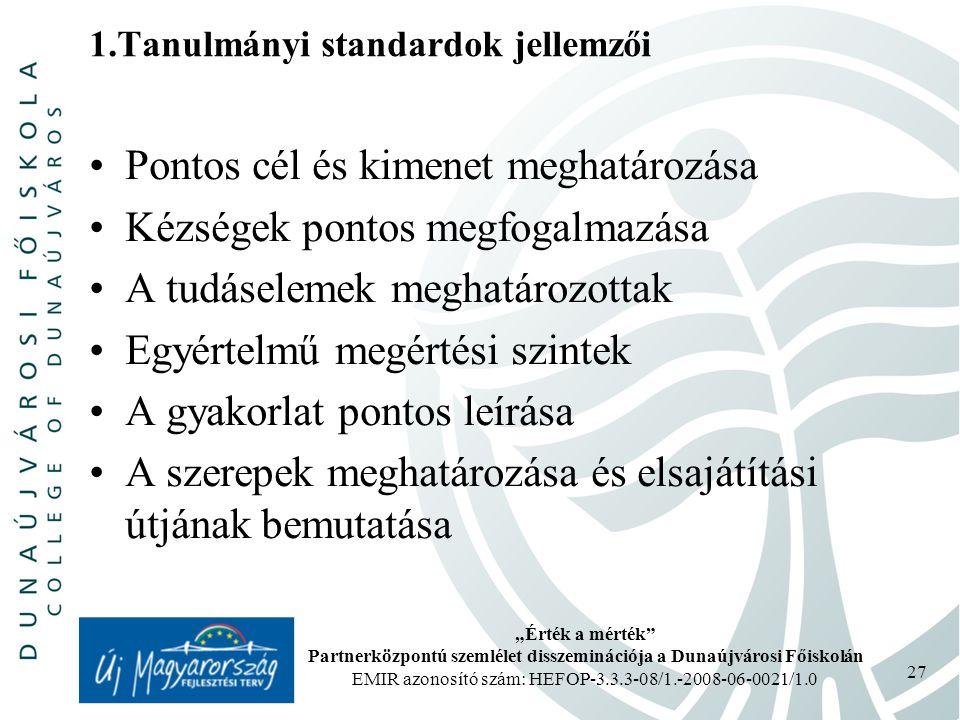 """""""Érték a mérték Partnerközpontú szemlélet disszeminációja a Dunaújvárosi Főiskolán EMIR azonosító szám: HEFOP-3.3.3-08/1.-2008-06-0021/1.0 27 1.Tanulmányi standardok jellemzői Pontos cél és kimenet meghatározása Kézségek pontos megfogalmazása A tudáselemek meghatározottak Egyértelmű megértési szintek A gyakorlat pontos leírása A szerepek meghatározása és elsajátítási útjának bemutatása"""