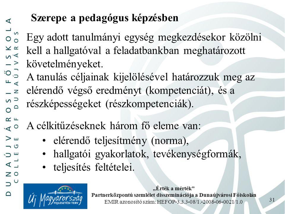 """""""Érték a mérték Partnerközpontú szemlélet disszeminációja a Dunaújvárosi Főiskolán EMIR azonosító szám: HEFOP-3.3.3-08/1.-2008-06-0021/1.0 31 Szerepe a pedagógus képzésben Egy adott tanulmányi egység megkezdésekor közölni kell a hallgatóval a feladatbankban meghatározott követelményeket."""