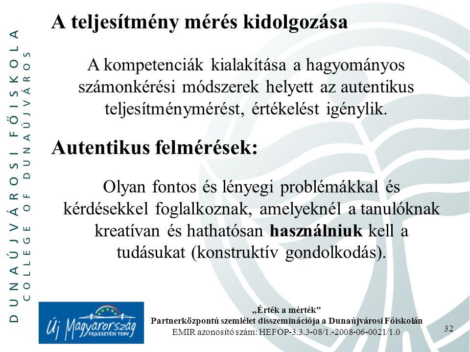 """""""Érték a mérték Partnerközpontú szemlélet disszeminációja a Dunaújvárosi Főiskolán EMIR azonosító szám: HEFOP-3.3.3-08/1.-2008-06-0021/1.0 32 A teljesítmény mérés kidolgozása A kompetenciák kialakítása a hagyományos számonkérési módszerek helyett az autentikus teljesítménymérést, értékelést igénylik."""
