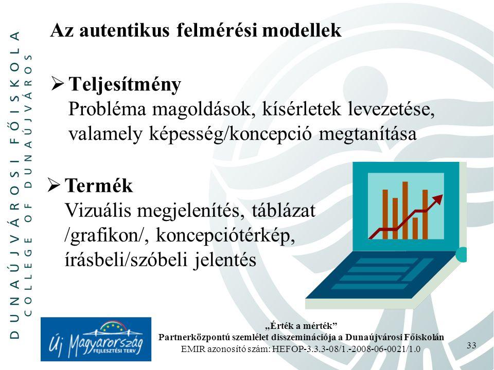 """""""Érték a mérték Partnerközpontú szemlélet disszeminációja a Dunaújvárosi Főiskolán EMIR azonosító szám: HEFOP-3.3.3-08/1.-2008-06-0021/1.0 33 Az autentikus felmérési modellek  Teljesítmény Probléma magoldások, kísérletek levezetése, valamely képesség/koncepció megtanítása  Termék Vizuális megjelenítés, táblázat /grafikon/, koncepciótérkép, írásbeli/szóbeli jelentés"""
