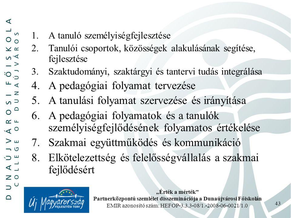 """""""Érték a mérték Partnerközpontú szemlélet disszeminációja a Dunaújvárosi Főiskolán EMIR azonosító szám: HEFOP-3.3.3-08/1.-2008-06-0021/1.0 43 1.A tanuló személyiségfejlesztése 2.Tanulói csoportok, közösségek alakulásának segítése, fejlesztése 3.Szaktudományi, szaktárgyi és tantervi tudás integrálása 4.A pedagógiai folyamat tervezése 5.A tanulási folyamat szervezése és irányítása 6.A pedagógiai folyamatok és a tanulók személyiségfejlődésének folyamatos értékelése 7.Szakmai együttműködés és kommunikáció 8.Elkötelezettség és felelősségvállalás a szakmai fejlődésért"""