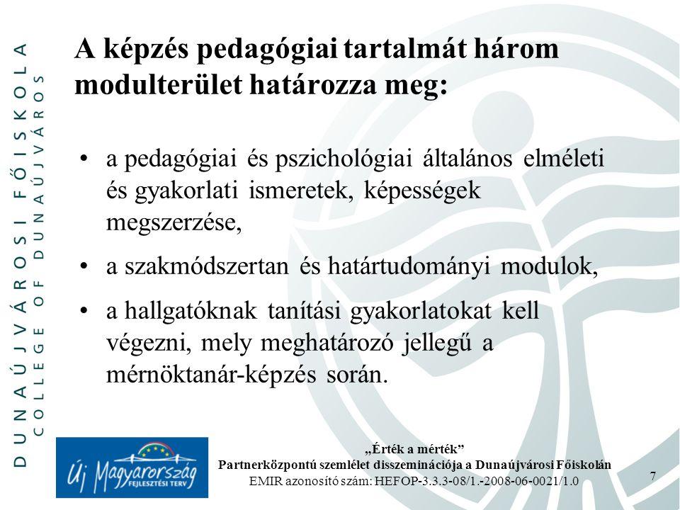 """""""Érték a mérték Partnerközpontú szemlélet disszeminációja a Dunaújvárosi Főiskolán EMIR azonosító szám: HEFOP-3.3.3-08/1.-2008-06-0021/1.0 7 A képzés pedagógiai tartalmát három modulterület határozza meg: a pedagógiai és pszichológiai általános elméleti és gyakorlati ismeretek, képességek megszerzése, a szakmódszertan és határtudományi modulok, a hallgatóknak tanítási gyakorlatokat kell végezni, mely meghatározó jellegű a mérnöktanár-képzés során."""