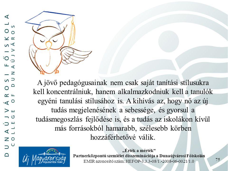 """""""Érték a mérték Partnerközpontú szemlélet disszeminációja a Dunaújvárosi Főiskolán EMIR azonosító szám: HEFOP-3.3.3-08/1.-2008-06-0021/1.0 75 A jövő pedagógusainak nem csak saját tanítási stílusukra kell koncentrálniuk, hanem alkalmazkodniuk kell a tanulók egyéni tanulási stílusához is."""