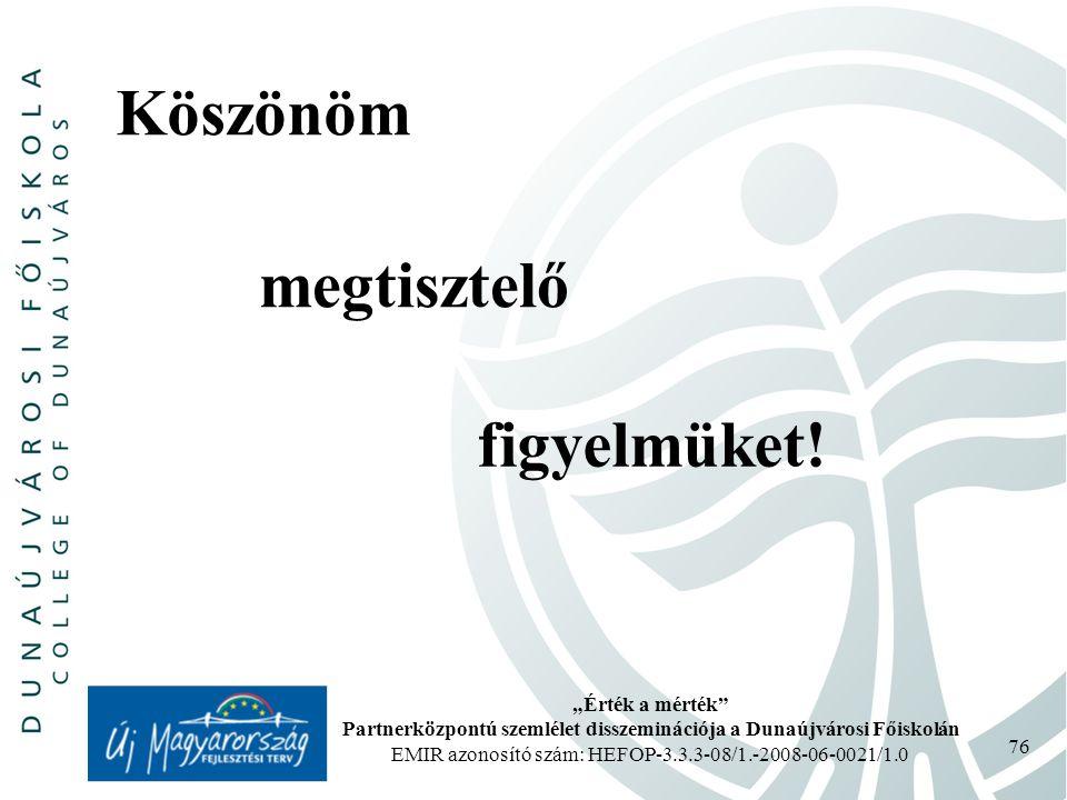 """""""Érték a mérték Partnerközpontú szemlélet disszeminációja a Dunaújvárosi Főiskolán EMIR azonosító szám: HEFOP-3.3.3-08/1.-2008-06-0021/1.0 76 Köszönöm megtisztelő figyelmüket!"""