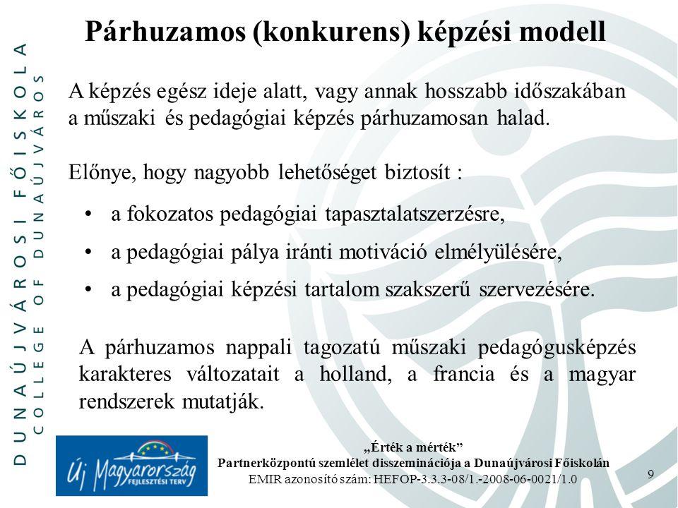 """""""Érték a mérték Partnerközpontú szemlélet disszeminációja a Dunaújvárosi Főiskolán EMIR azonosító szám: HEFOP-3.3.3-08/1.-2008-06-0021/1.0 9 Párhuzamos (konkurens) képzési modell A képzés egész ideje alatt, vagy annak hosszabb időszakában a műszaki és pedagógiai képzés párhuzamosan halad."""