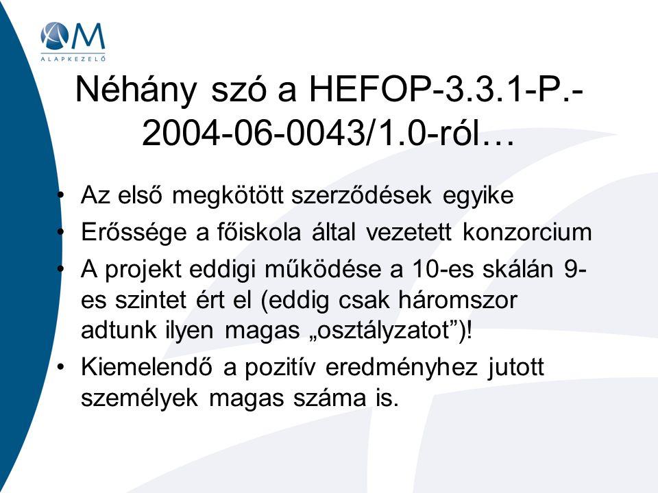 """Néhány szó a HEFOP-3.3.1-P.- 2004-06-0043/1.0-ról… Az első megkötött szerződések egyike Erőssége a főiskola által vezetett konzorcium A projekt eddigi működése a 10-es skálán 9- es szintet ért el (eddig csak háromszor adtunk ilyen magas """"osztályzatot )."""