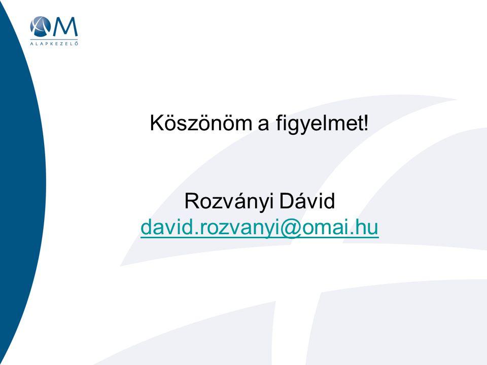 Köszönöm a figyelmet! Rozványi Dávid david.rozvanyi@omai.hu david.rozvanyi@omai.hu