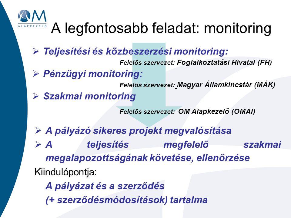 A legfontosabb feladat: monitoring  Teljesítési és közbeszerzési monitoring: Felelős szervezet: Foglalkoztatási Hivatal (FH)  Pénzügyi monitoring: Felelős szervezet: Magyar Államkincstár (MÁK)  Szakmai monitoring Felelős szervezet: OM Alapkezelő (OMAI)  A pályázó sikeres projekt megvalósítása  A teljesítés megfelelő szakmai megalapozottságának követése, ellenőrzése Kiindulópontja: A pályázat és a szerződés (+ szerződésmódosítások) tartalma