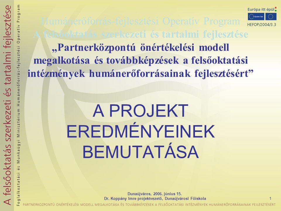 Dunaújváros, 2006. június 15. Dr. Koppány Imre projektvezető, Dunaújvárosi Főiskola1 Humánerőforrás-fejlesztési Operatív Program A felsőoktatás szerke