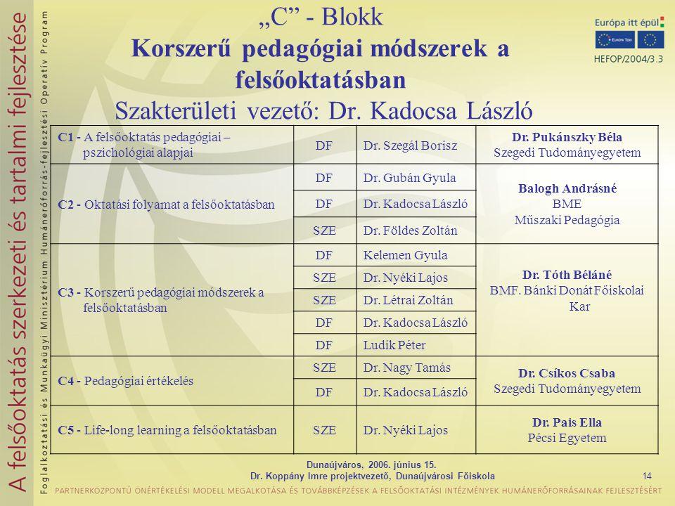 """Dunaújváros, 2006. június 15. Dr. Koppány Imre projektvezető, Dunaújvárosi Főiskola14 """"C"""" - Blokk Korszerű pedagógiai módszerek a felsőoktatásban Szak"""