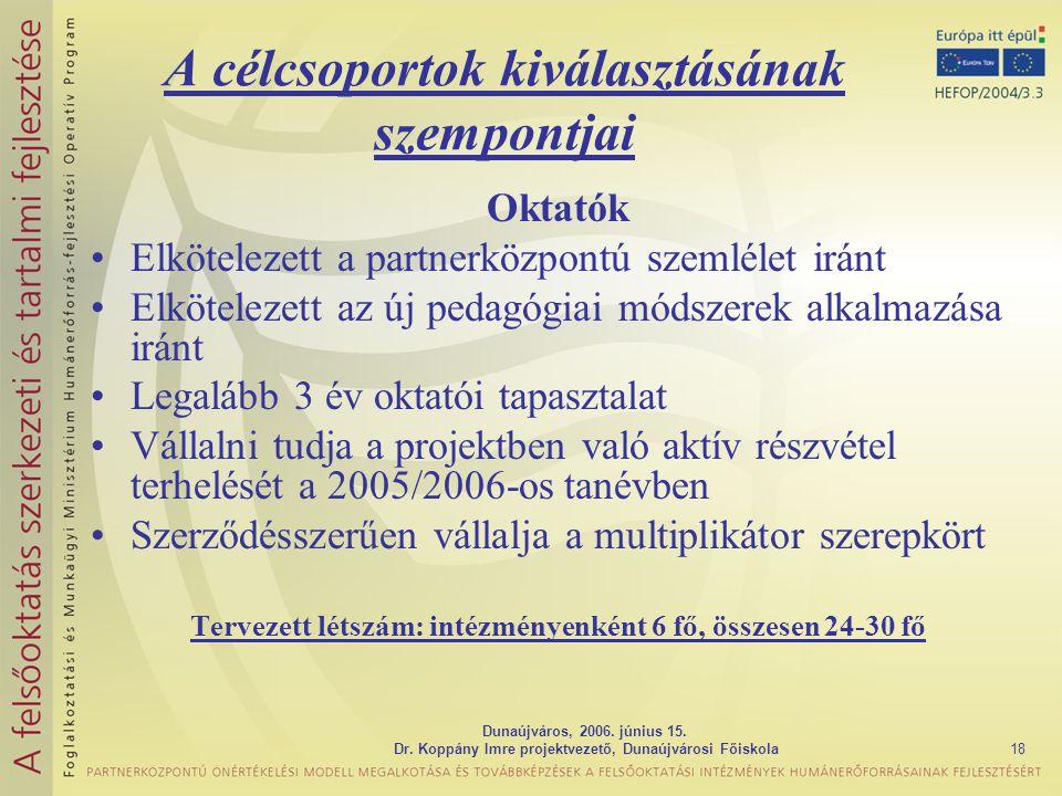 Dunaújváros, 2006. június 15. Dr. Koppány Imre projektvezető, Dunaújvárosi Főiskola18 A célcsoportok kiválasztásának szempontjai Oktatók Elkötelezett