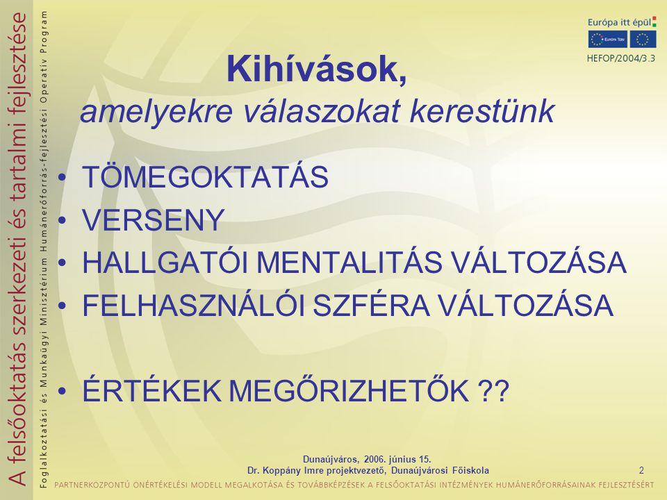Dunaújváros, 2006. június 15. Dr. Koppány Imre projektvezető, Dunaújvárosi Főiskola2 Kihívások, amelyekre válaszokat kerestünk TÖMEGOKTATÁS VERSENY HA