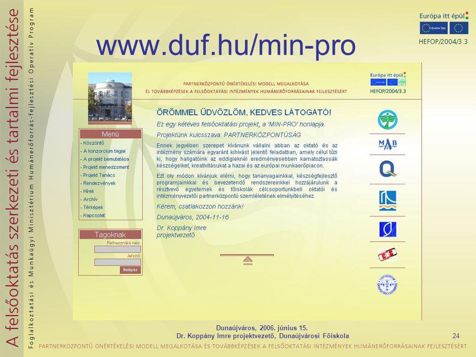 Dunaújváros, 2006. június 15. Dr. Koppány Imre projektvezető, Dunaújvárosi Főiskola24 www.duf.hu/min-pro