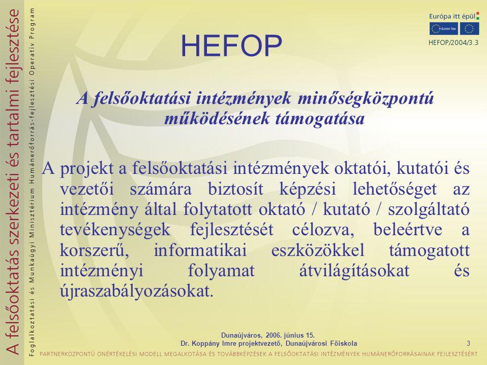 Dunaújváros, 2006. június 15. Dr. Koppány Imre projektvezető, Dunaújvárosi Főiskola3 HEFOP A felsőoktatási intézmények minőségközpontú működésének tám