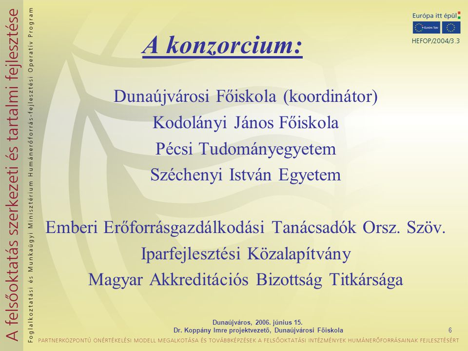 Dunaújváros, 2006. június 15. Dr. Koppány Imre projektvezető, Dunaújvárosi Főiskola6 A konzorcium: Dunaújvárosi Főiskola (koordinátor) Kodolányi János