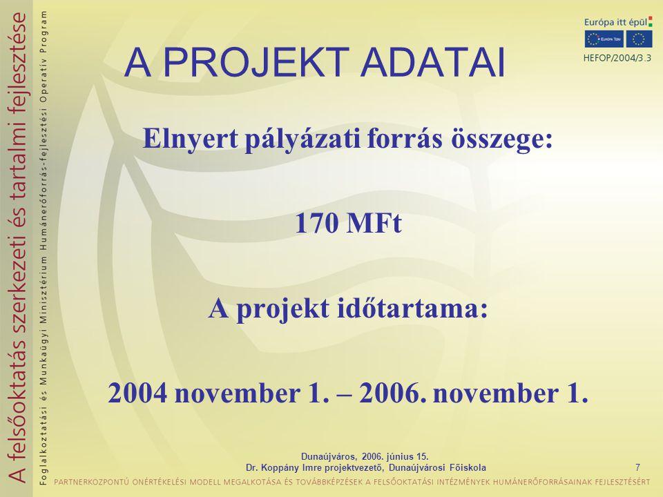 Dunaújváros, 2006. június 15. Dr. Koppány Imre projektvezető, Dunaújvárosi Főiskola7 A PROJEKT ADATAI Elnyert pályázati forrás összege: 170 MFt A proj