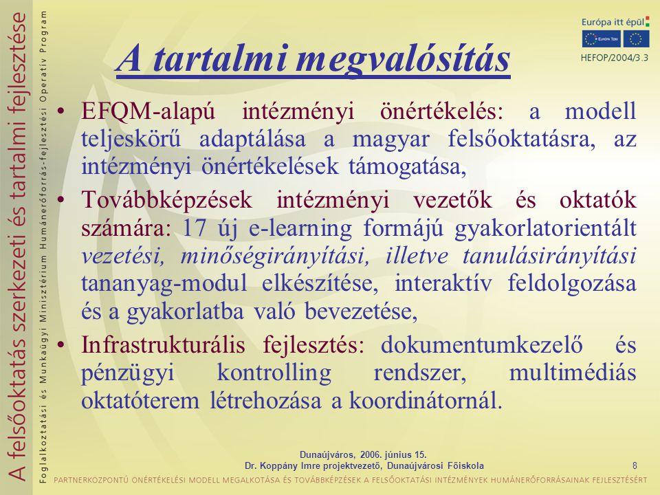 Dunaújváros, 2006. június 15. Dr. Koppány Imre projektvezető, Dunaújvárosi Főiskola8 A tartalmi megvalósítás EFQM-alapú intézményi önértékelés: a mode