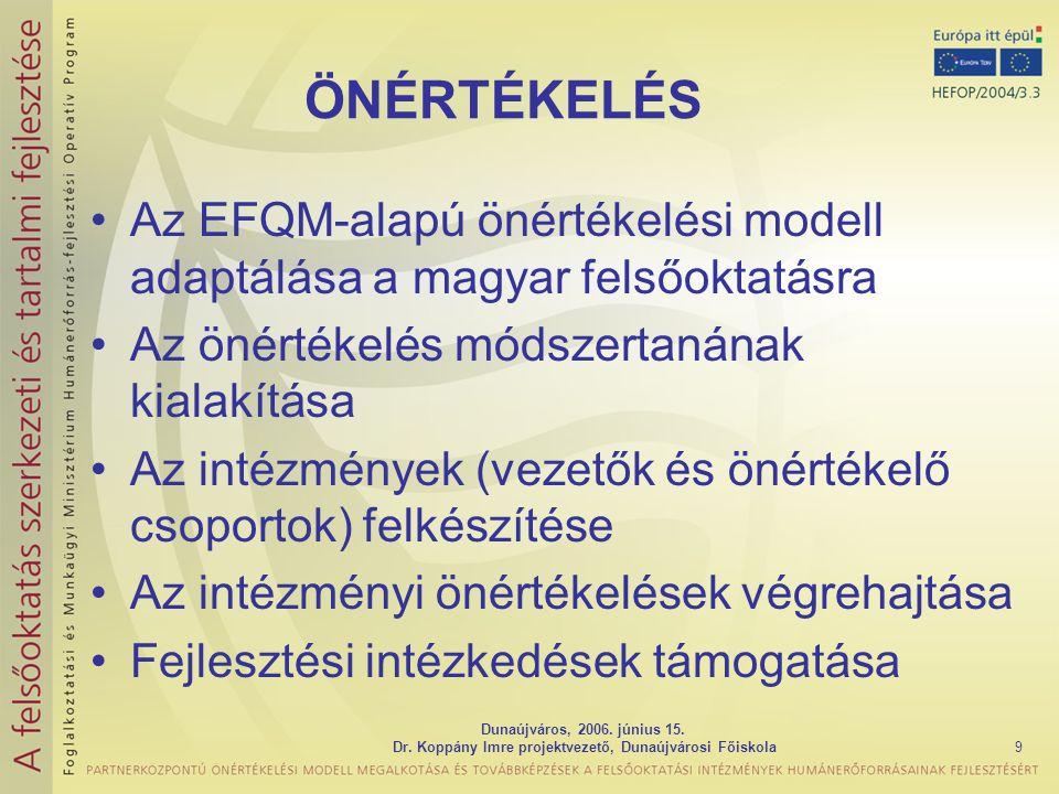 Dunaújváros, 2006. június 15. Dr. Koppány Imre projektvezető, Dunaújvárosi Főiskola9 ÖNÉRTÉKELÉS Az EFQM-alapú önértékelési modell adaptálása a magyar