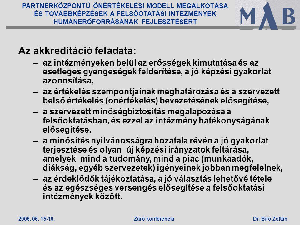 PARTNERKÖZPONTÚ ÖNÉRTÉKELÉSI MODELL MEGALKOTÁSA ÉS TOVÁBBKÉPZÉSEK A FELSŐOTATÁSI INTÉZMÉNYEK HUMÁNERŐFORRÁSÁNAK FEJLESZTÉSÉRT 2006. 06. 15-16.Záró kon