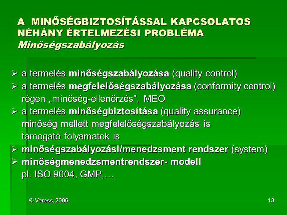 © Veress, 200613 A MINŐSÉGBIZTOSÍTÁSSAL KAPCSOLATOS NÉHÁNY ÉRTELMEZÉSI PROBLÉMA Minőségszabályozás  a termelés minőségszabályozása (quality control)
