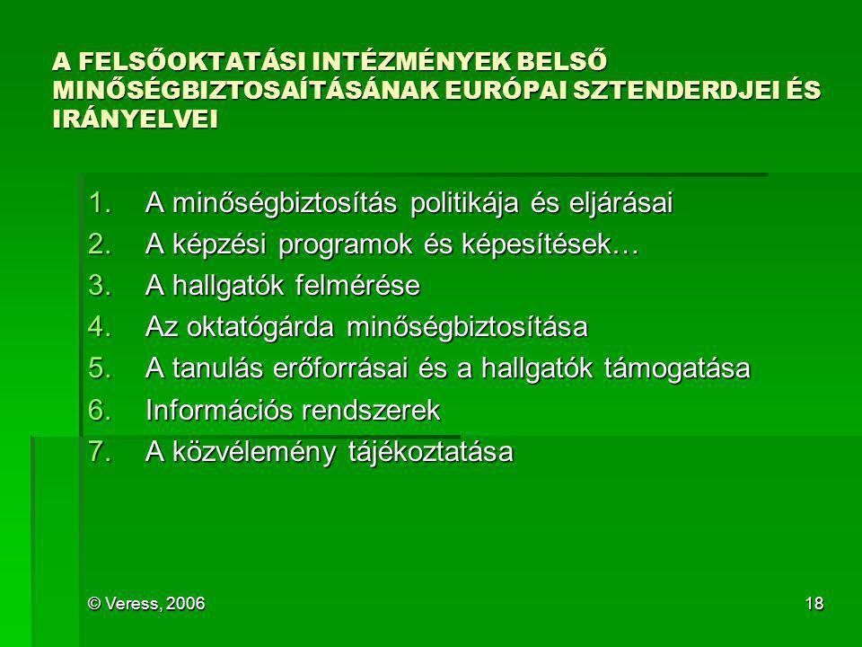 © Veress, 200618 A FELSŐOKTATÁSI INTÉZMÉNYEK BELSŐ MINŐSÉGBIZTOSAÍTÁSÁNAK EURÓPAI SZTENDERDJEI ÉS IRÁNYELVEI 1.A minőségbiztosítás politikája és eljár