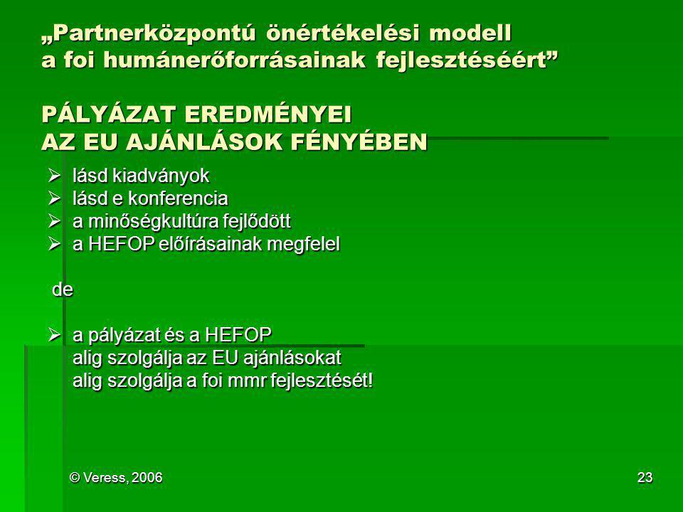 """© Veress, 200623 """"Partnerközpontú önértékelési modell a foi humánerőforrásainak fejlesztéséért"""" PÁLYÁZAT EREDMÉNYEI AZ EU AJÁNLÁSOK FÉNYÉBEN  lásd ki"""