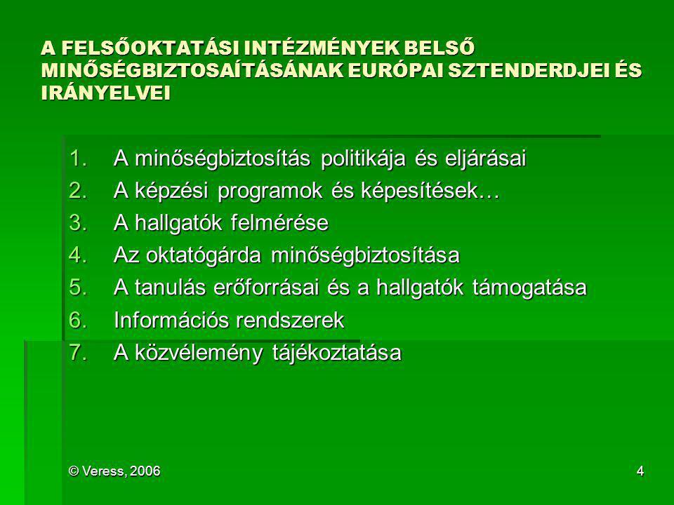 © Veress, 20064 A FELSŐOKTATÁSI INTÉZMÉNYEK BELSŐ MINŐSÉGBIZTOSAÍTÁSÁNAK EURÓPAI SZTENDERDJEI ÉS IRÁNYELVEI 1.A minőségbiztosítás politikája és eljárá