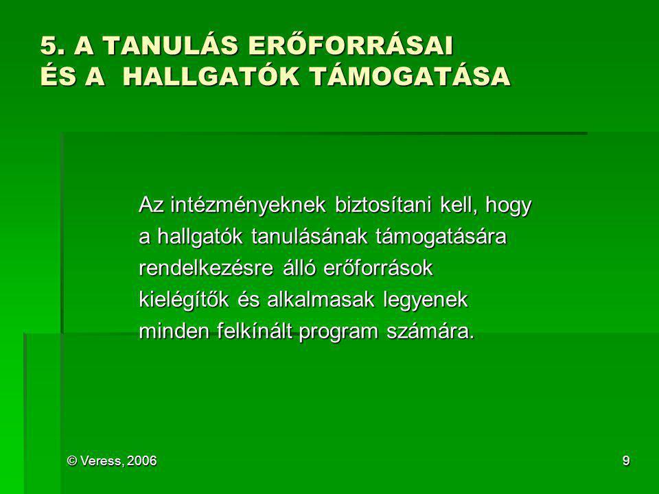 © Veress, 20069 5. A TANULÁS ERŐFORRÁSAI ÉS A HALLGATÓK TÁMOGATÁSA Az intézményeknek biztosítani kell, hogy a hallgatók tanulásának támogatására rende