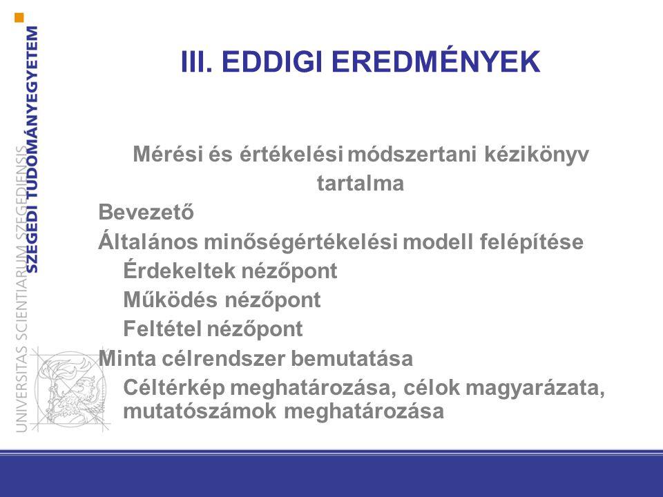 III. EDDIGI EREDMÉNYEK Mérési és értékelési módszertani kézikönyv tartalma Bevezető Általános minőségértékelési modell felépítése Érdekeltek nézőpont