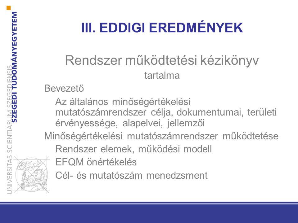 III. EDDIGI EREDMÉNYEK Rendszer működtetési kézikönyv tartalma Bevezető Az általános minőségértékelési mutatószámrendszer célja, dokumentumai, terület