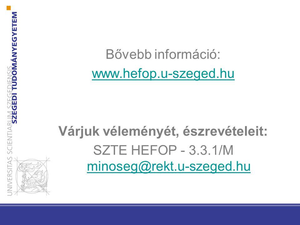 Bővebb információ: www.hefop.u-szeged.hu Várjuk véleményét, észrevételeit: SZTE HEFOP - 3.3.1/M minoseg@rekt.u-szeged.hu minoseg@rekt.u-szeged.hu