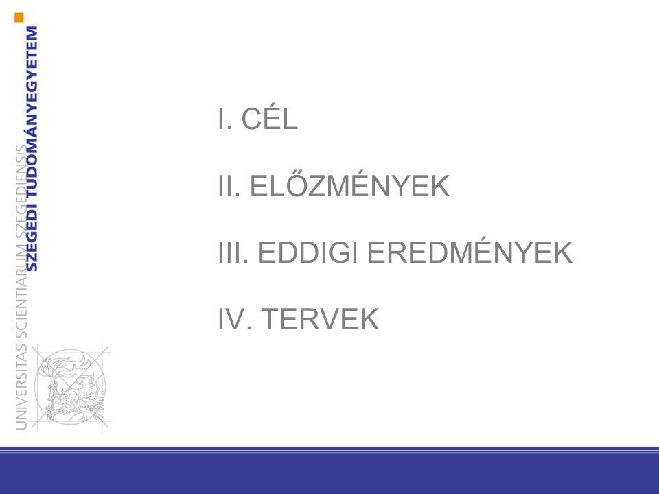 I. CÉL II. ELŐZMÉNYEK III. EDDIGI EREDMÉNYEK IV. TERVEK