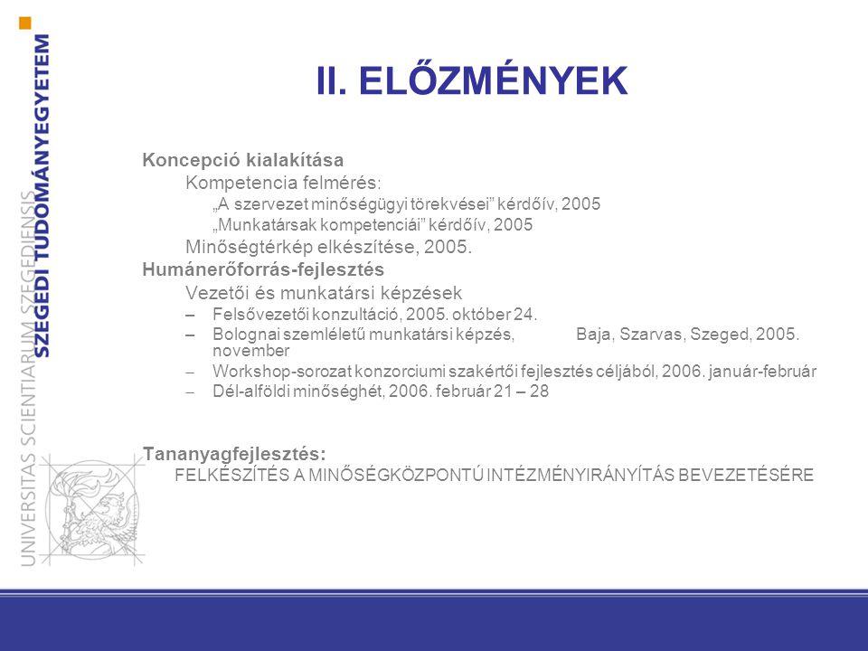 """II. ELŐZMÉNYEK Koncepció kialakítása Kompetencia felmérés : """"A szervezet minőségügyi törekvései"""" kérdőív, 2005 """"Munkatársak kompetenciái"""" kérdőív, 200"""
