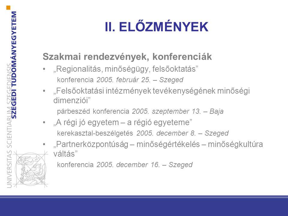 """II. ELŐZMÉNYEK Szakmai rendezvények, konferenciák """"Regionalitás, minőségügy, felsőoktatás"""" konferencia 2005. február 25. – Szeged """"Felsőoktatási intéz"""