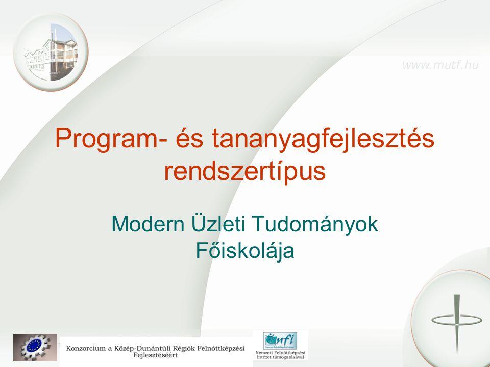 Program- és tananyagfejlesztés rendszertípus Modern Üzleti Tudományok Főiskolája