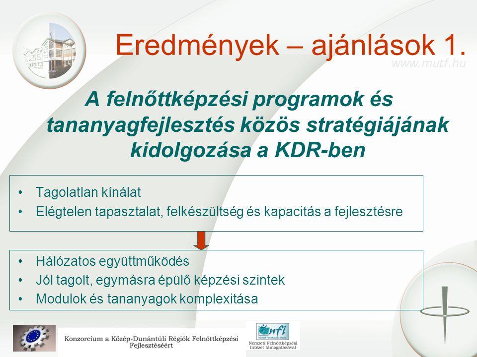 Eredmények – ajánlások 1. A felnőttképzési programok és tananyagfejlesztés közös stratégiájának kidolgozása a KDR-ben Tagolatlan kínálat Elégtelen tap