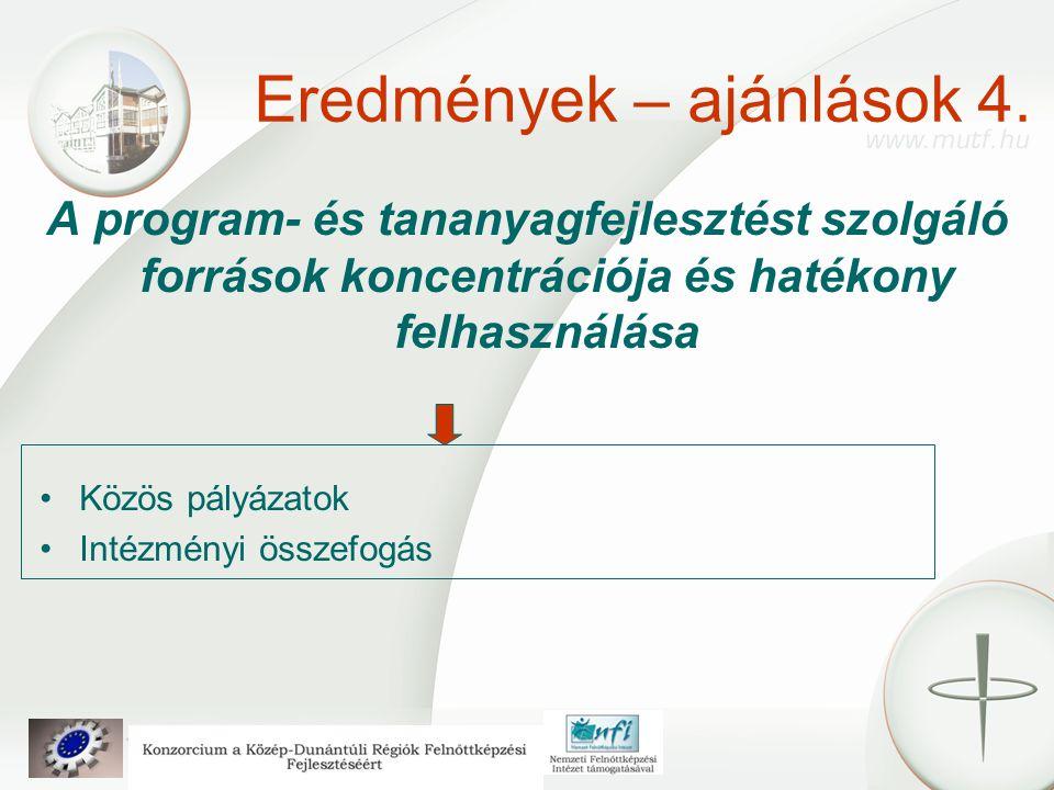 Eredmények – ajánlások 4. A program- és tananyagfejlesztést szolgáló források koncentrációja és hatékony felhasználása Közös pályázatok Intézményi öss