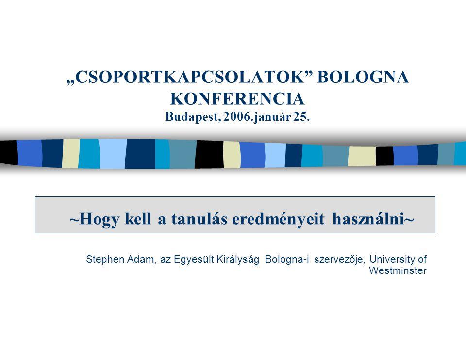 """Stephen Adam, az Egyesült Királyság Bologna-i szervezője, University of Westminster """"CSOPORTKAPCSOLATOK"""" BOLOGNA KONFERENCIA Budapest, 2006.január 25."""