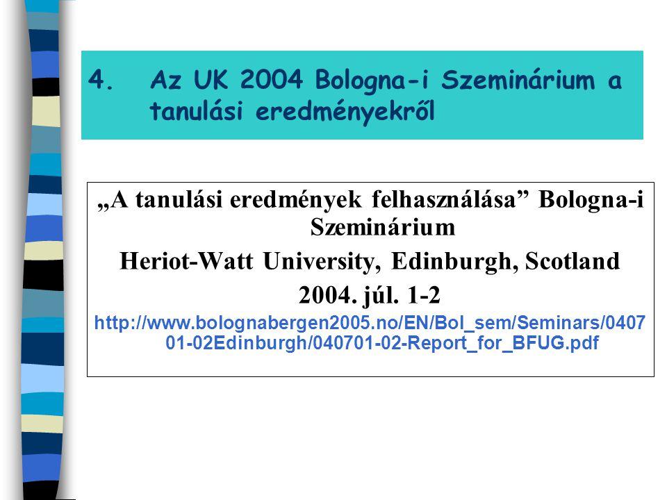 """4.Az UK 2004 Bologna-i Szeminárium a tanulási eredményekről """"A tanulási eredmények felhasználása"""" Bologna-i Szeminárium Heriot-Watt University, Edinbu"""