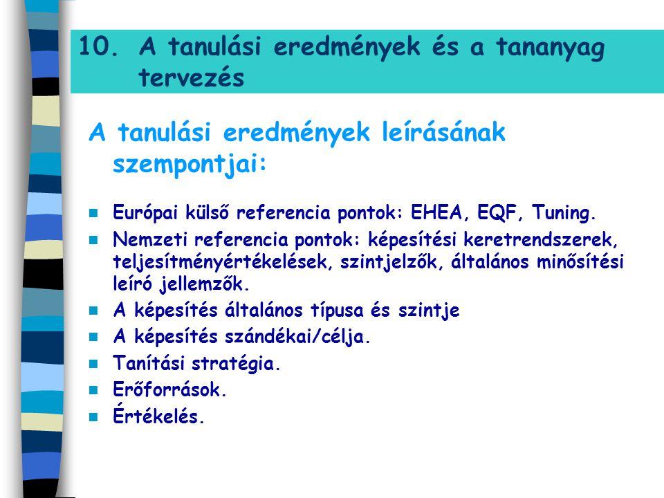 10.A tanulási eredmények és a tananyag tervezés A tanulási eredmények leírásának szempontjai: Európai külső referencia pontok: EHEA, EQF, Tuning. Nemz