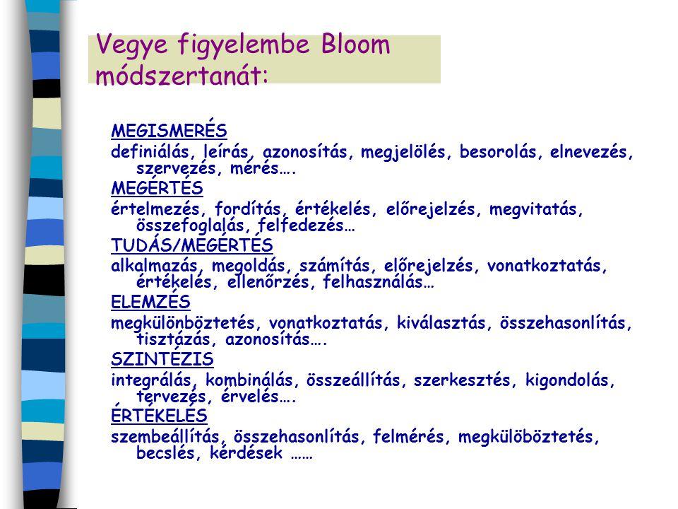 Vegye figyelembe Bloom módszertanát: MEGISMERÉS definiálás, leírás, azonosítás, megjelölés, besorolás, elnevezés, szervezés, mérés…. MEGÉRTÉS értelmez