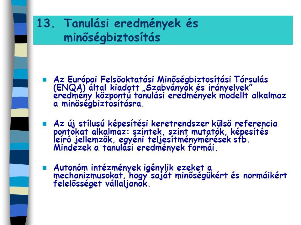 """13.Tanulási eredmények és minőségbiztosítás Az Európai Felsőoktatási Minőségbiztosítási Társulás (ENQA) által kiadott """"Szabványok és irányelvek"""" eredm"""