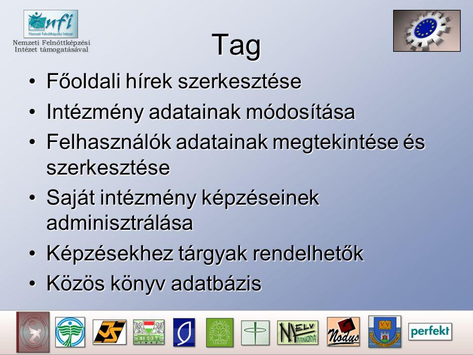 Tag Főoldali hírek szerkesztéseFőoldali hírek szerkesztése Intézmény adatainak módosításaIntézmény adatainak módosítása Felhasználók adatainak megteki
