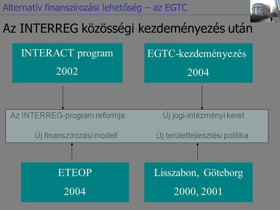 Az INTERREG közösségi kezdeményezés után INTERACT program 2002 EGTC-kezdeményezés 2004 Az INTERREG-program reformjaÚj jogi-intézményi keret ETEOP 2004 Új finanszírozási modell Lisszabon, Göteborg 2000, 2001 Új területfejlesztési politika Alternatív finanszírozási lehetőség – az EGTC