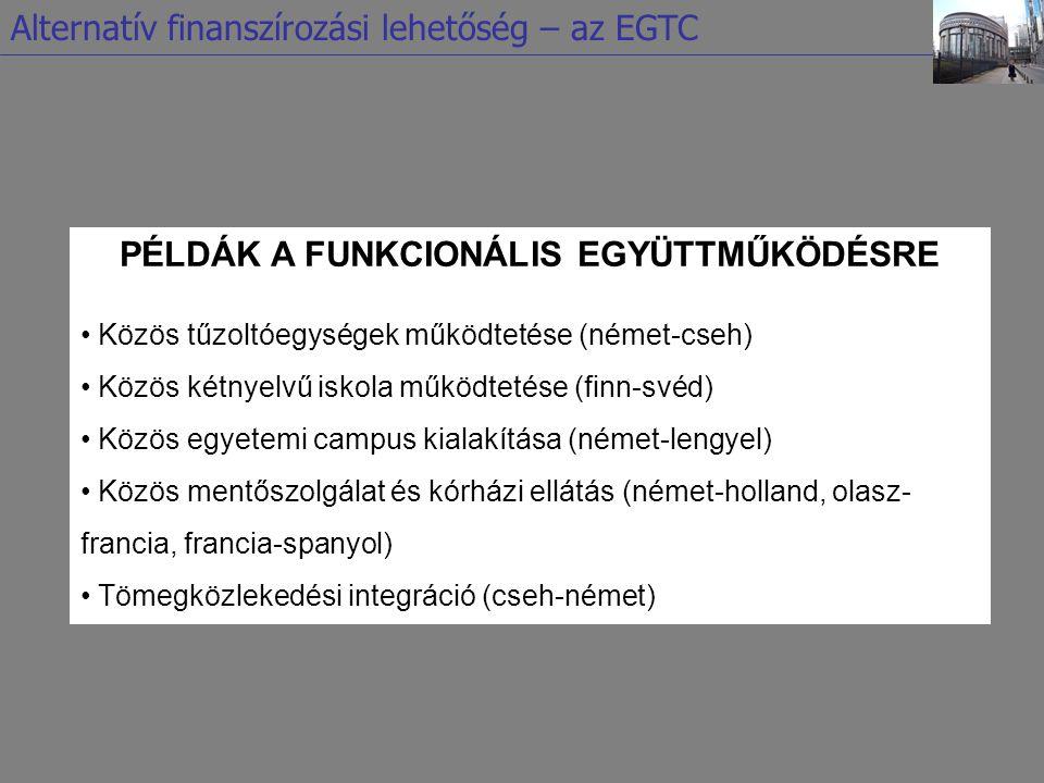 PÉLDÁK A FUNKCIONÁLIS EGYÜTTMŰKÖDÉSRE Közös tűzoltóegységek működtetése (német-cseh) Közös kétnyelvű iskola működtetése (finn-svéd) Közös egyetemi cam