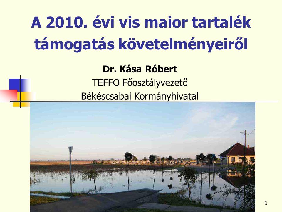1 A 2010. évi vis maior tartalék támogatás követelményeiről Dr.